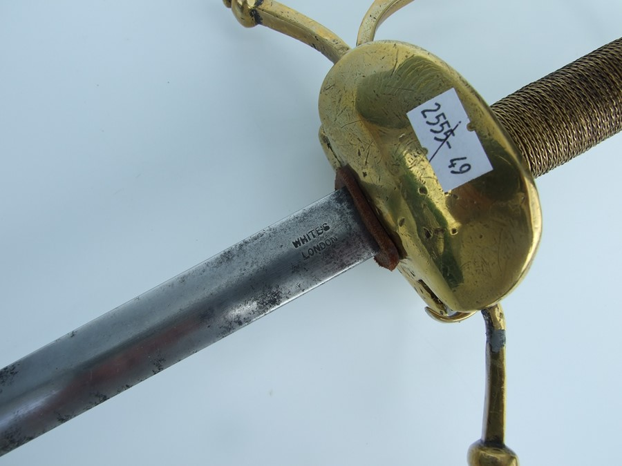 A Rapier type sword with brass hilt, the blade cut with single offset fullers, the hilt with down - Image 4 of 5