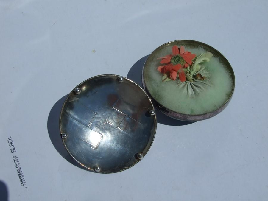 A Loys Lucha, Paris Art Deco silvered & Verdigris bronze patinated circular powder puff box and - Image 3 of 4