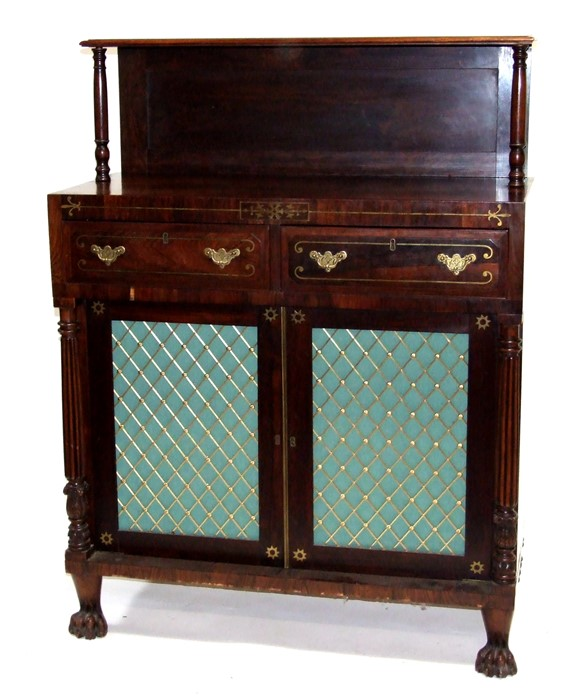 A George IV rosewood & brass inlaid side cabinet with simulated sides, the raised back with turned - Image 3 of 3