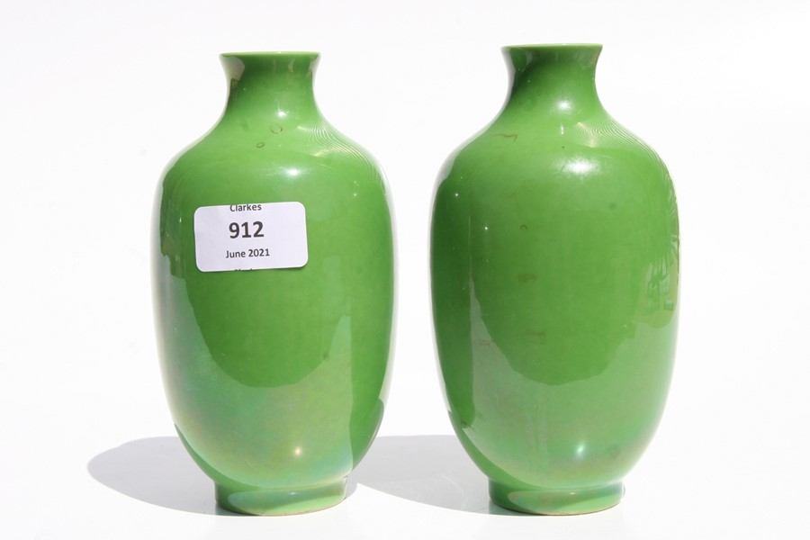 A pair of Chinese green monochrome vases with blue seal mark to the underside, 16cms (6.25ins) - Image 3 of 6