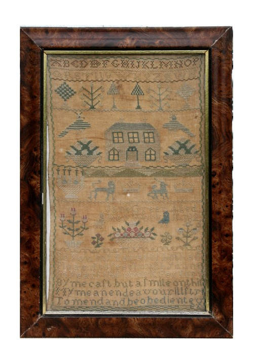 A 19th century needlework sampler by Jane Green, aged 14, with alphabet, verse, house and flowers,