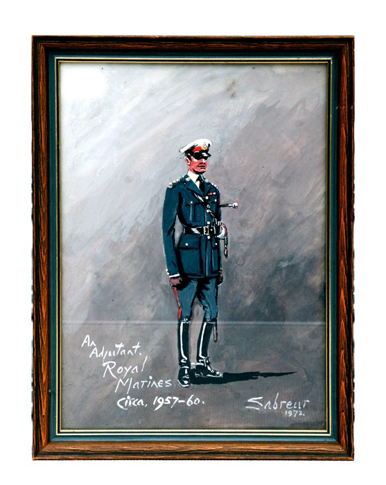 20th century British - Study of a Royal Marine in Dress Uniform - gouache, signed & dated '72