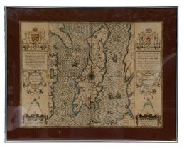 Speed (John) (1552-1629) - hand coloured map of the Isle of Man, framed & glazed, 51 by 38cms (20 by