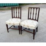 A pair of 19th century chairs with stuff over seats (2).