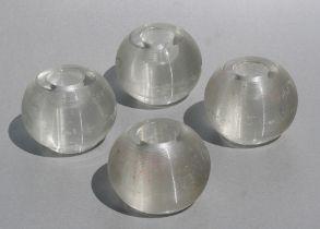 A matching set of four glass match strikers from an Officer's mess, 7cms (2.25ins) high (4).
