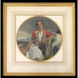 Attributed to Frank O Salisbury (1874-1962) - a circular overpainted coloured print depicting his