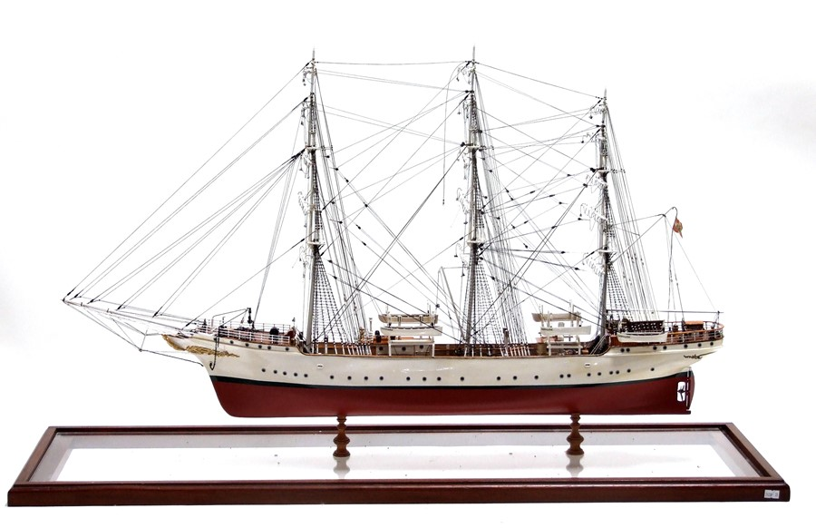 A scratch built scale model of a three-masted sailing ship 'The Danmark', approximately 86cms (