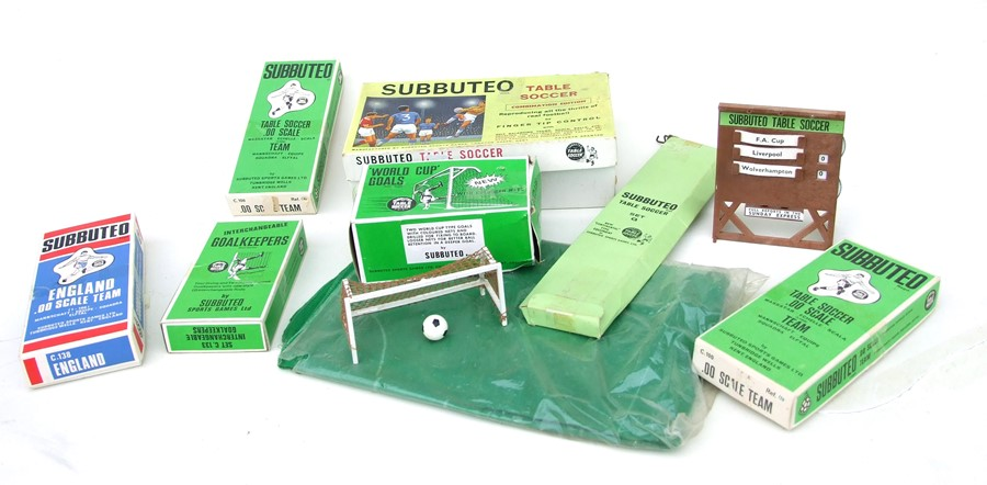 A Subbuteo Table Soccer Combination Edition with various boxed teams and accessories.