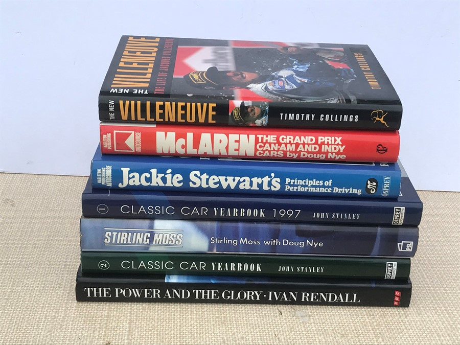 Assorted motoring racing biographies including Edwards (Robert) - Stirling Moss; Nye (Doug) -