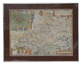 An antique hand-coloured map of Dorsetshyre, framed & glazed, 51 by 38cms (20 by 15ins).