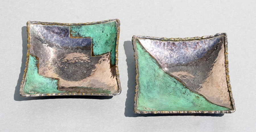 A pair of Loys Lucha, Paris Art Deco silvered and patinated bronze pin dishes, signed 'Loys' and