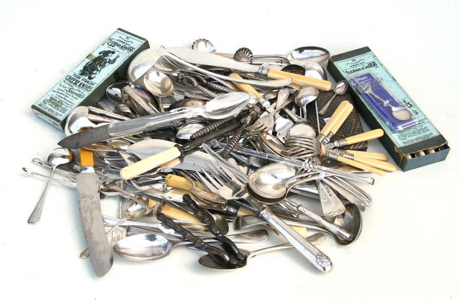 A quantity of silver plated flatware.