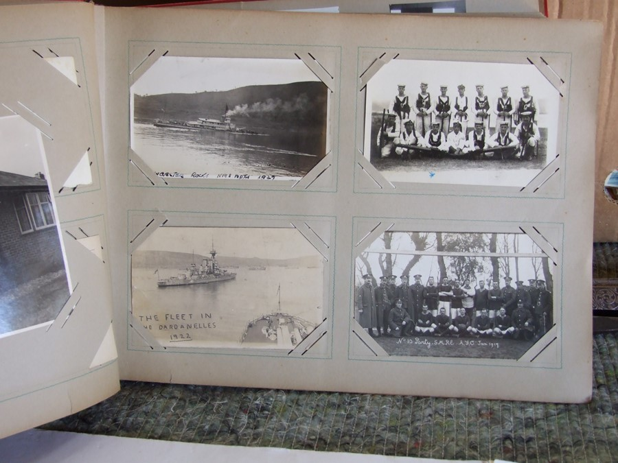 Approximately 200 early to mid 20th century Military postcards and photographs contained in a red - Image 10 of 19