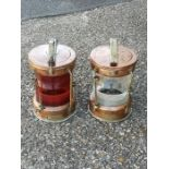 A pair of copper & brass port & starboard mast head lights, each with a brass plaque applied 'All