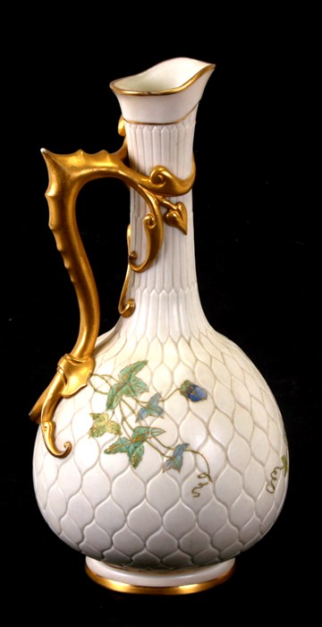 A Royal Worcester Aesthetics period ewer with tube lined decoration in the form of passionflowers, - Image 3 of 3