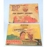 Petrolania: Two 1930's style wall hanging pictorial advertising boards for 'National Benzol Mixture'
