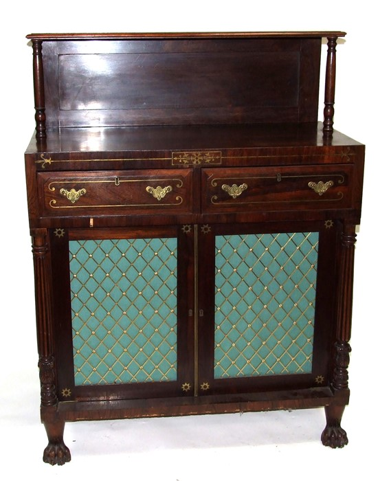 A George IV rosewood & brass inlaid side cabinet with simulated sides, the raised back with turned - Image 2 of 3