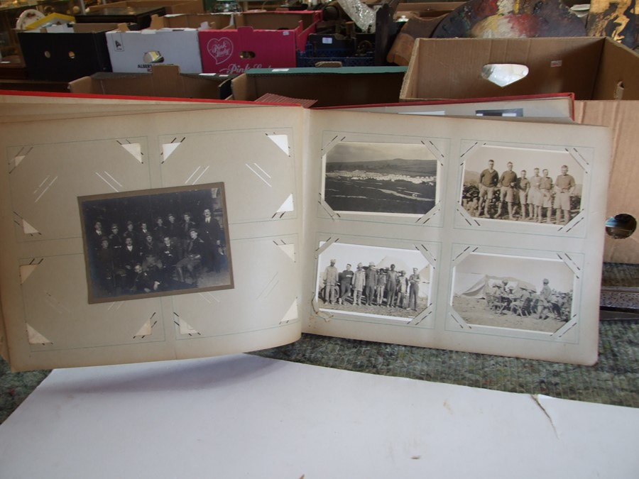 Approximately 200 early to mid 20th century Military postcards and photographs contained in a red - Image 9 of 19