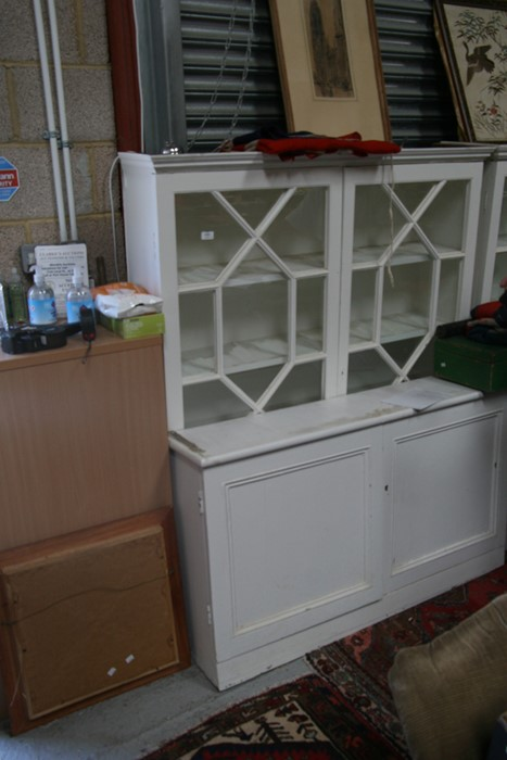 A pair of painted pine bookcases on cupboards, the pair of glazed doors enclosing a shelved interior - Image 8 of 11