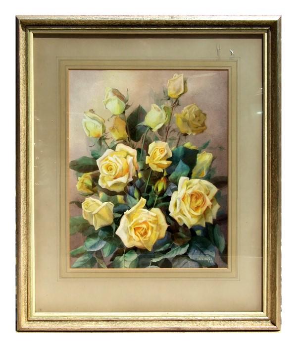 Jack Carter (modern British) - Rosalinda Roses - signed & dated '58 lower right, watercolour, framed