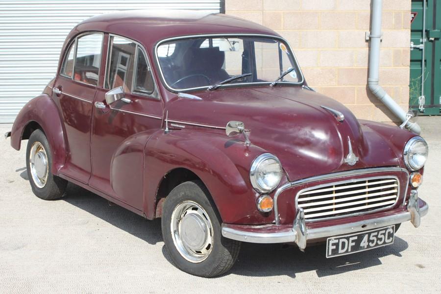 A 1965 Morris Minor 1000 four-door saloon, registration no. FDF 455C, chassis no. M/A55D1121593,