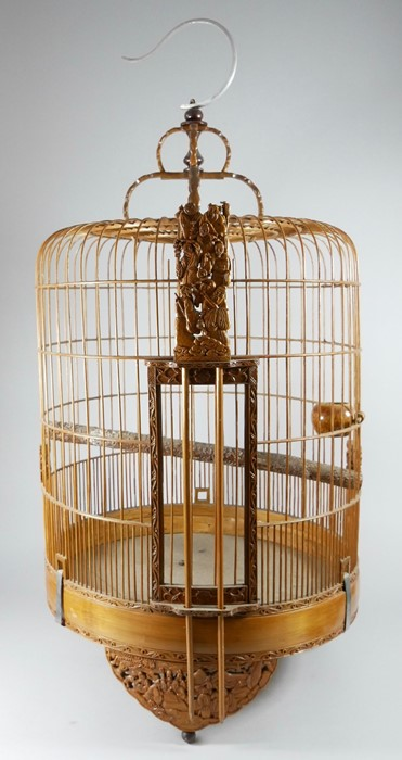 Two Chinese carved wooden birdcages. 50cm 19.75 ins) high - Image 3 of 3