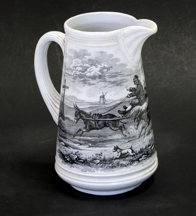 A Copelands & Sons transfer printed jug 'Going to the Derby', 22cms (9ins) hiigh.Condition