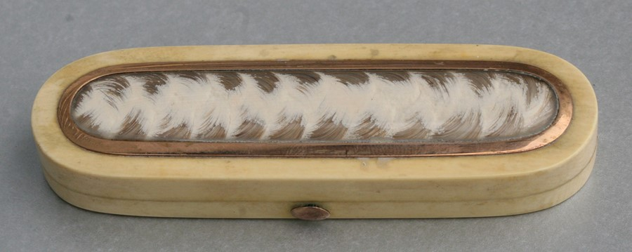 A Georgian ivory toothpick box, the top with yellow metal mounted hair plait, 9csm (3.5ins) wide.