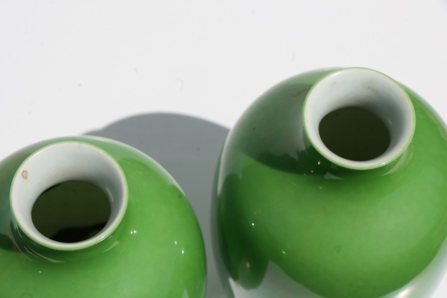 A pair of Chinese green monochrome vases with blue seal mark to the underside, 16cms (6.25ins) - Image 6 of 6