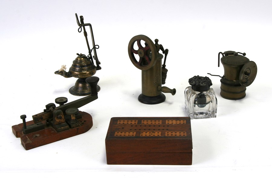 An Islamic hanging oil lamp; together with a Morse Code key; an Autolite lamp; a stationary engine