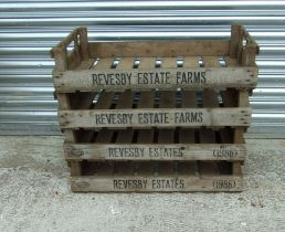 Four Revesby Estates wooden seed trays, 76cms (30ins) wide (4).