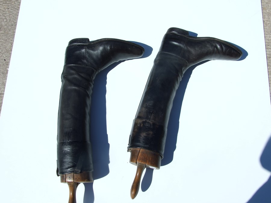 A pair of black leather riding boots with wooden trees.Condition ReportSole measures 29cms and the - Image 8 of 10