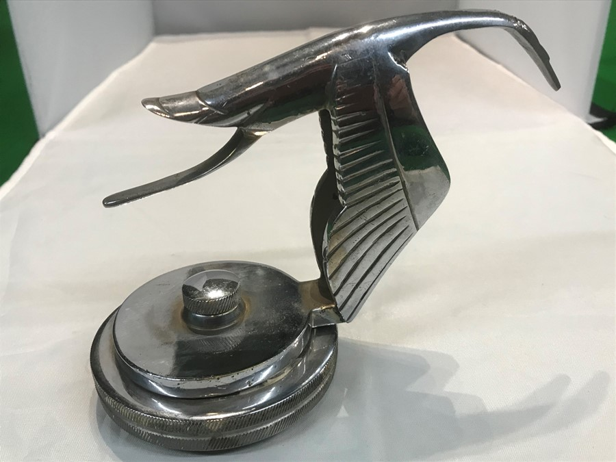 A Hispano Suiza style flying stork car mascot, after Fran‡ois Bazin, 15 cm, 6 inches long, mounted - Image 3 of 3