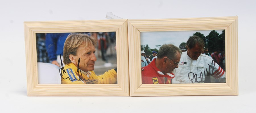 Motor racing interest. Two private coloured photographs of Phil Hill and Derek Bell, signed, both