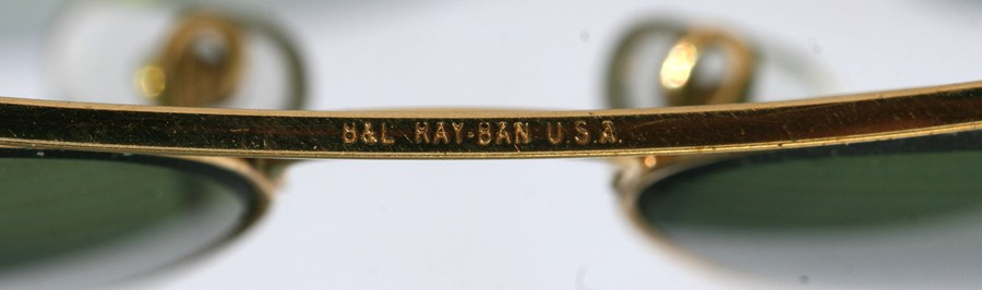 A pair of Bausch & Lomb Ray-Ban USA Aviator sunglasses, cased, unusually having etched mark to the - Image 2 of 2
