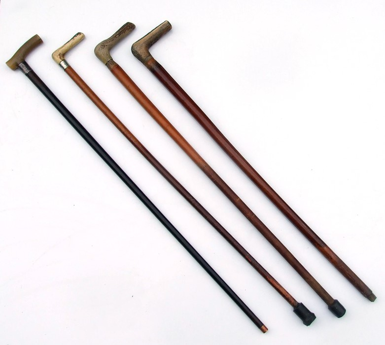 Three antler handled walking sticks; together with a silver mounted horn handled walking stick (4). - Image 2 of 2