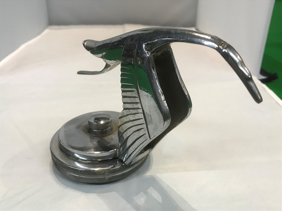 A Hispano Suiza style flying stork car mascot, after Fran‡ois Bazin, 15 cm, 6 inches long, mounted