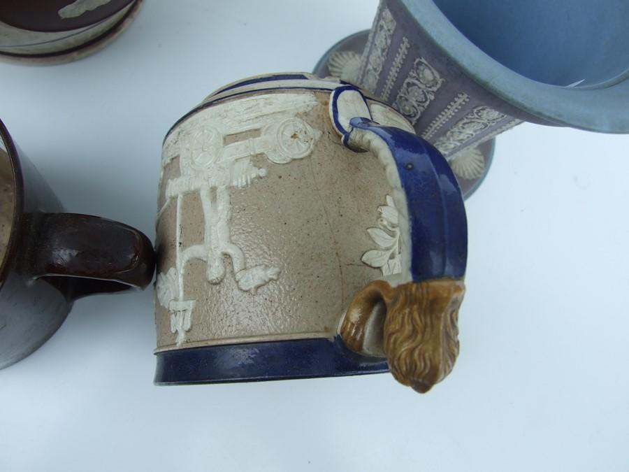A 19th century stoneware commemorative mug depicting Wellington; together with two Jasperware - Image 10 of 10
