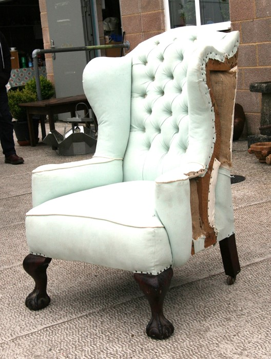 A 18th century style wing armchair, partially re-upholstered. - Image 2 of 2