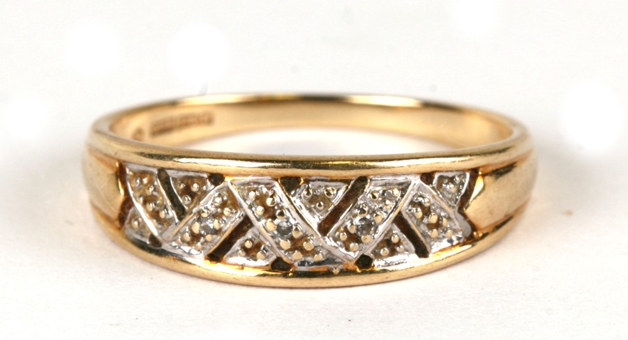 A 9ct gold diamond set ring, weight 2.2g, approx UK size 'Q'.