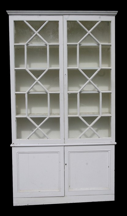 A pair of painted pine bookcases on cupboards, the pair of glazed doors enclosing a shelved interior - Image 6 of 11