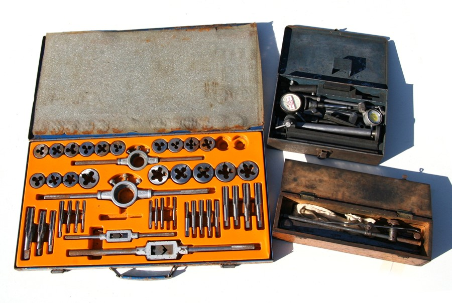 A Spaldings tap & dye set, cased; together with other tools.