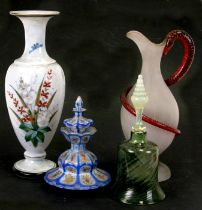 A 19th century frosted glass claret jug with gilded cranberry glass entwined snake handle, 31cms (