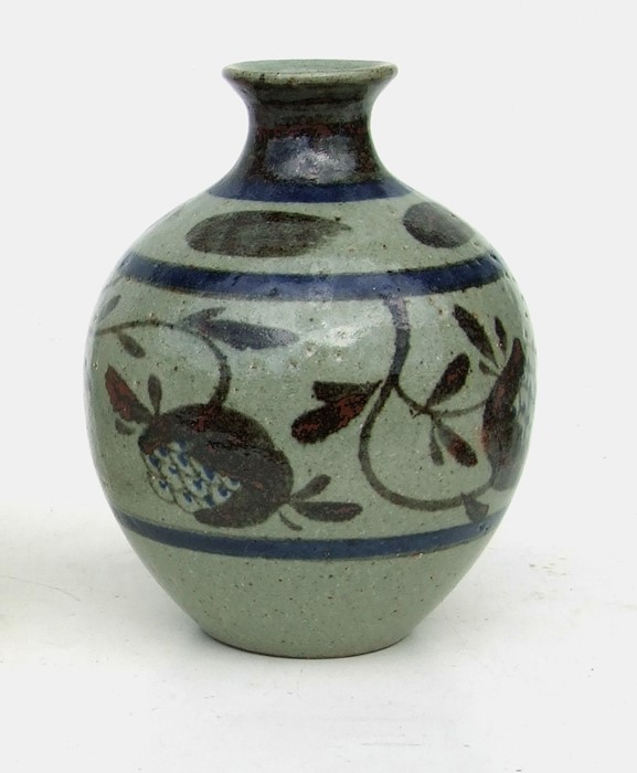 Louise Hudson Studio Pottery slab vase with incised decoration, 23cms (9ins) high; together with - Image 2 of 2