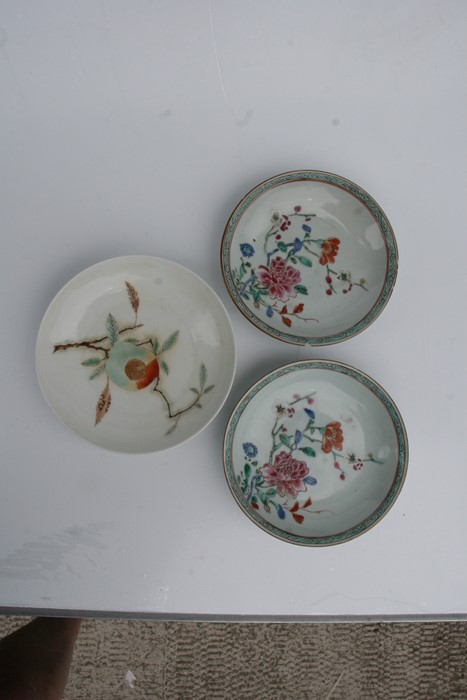 A pair of 18th century Chinese shallow dishes decorated with flowers, 14cms (5.5ins) diameter; - Image 3 of 8