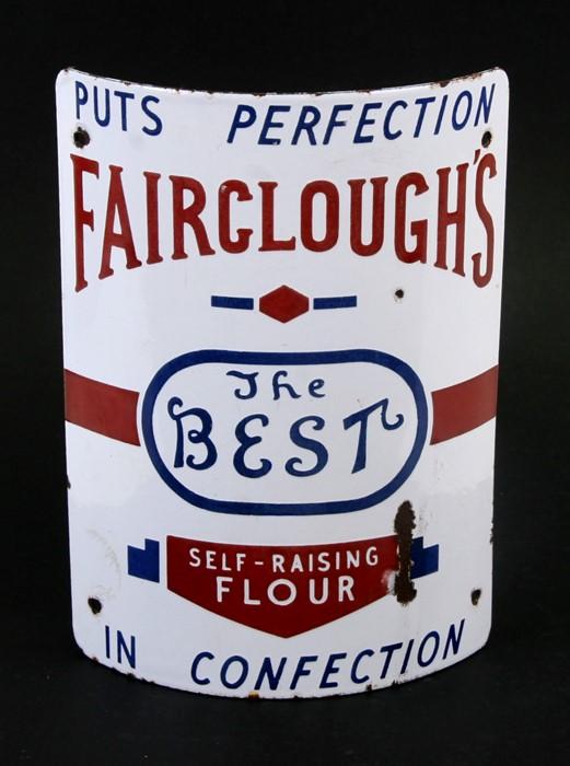 A Fariclough's Self Raising Flour enamel post advertising sign, 31cms (12.25ins) high.