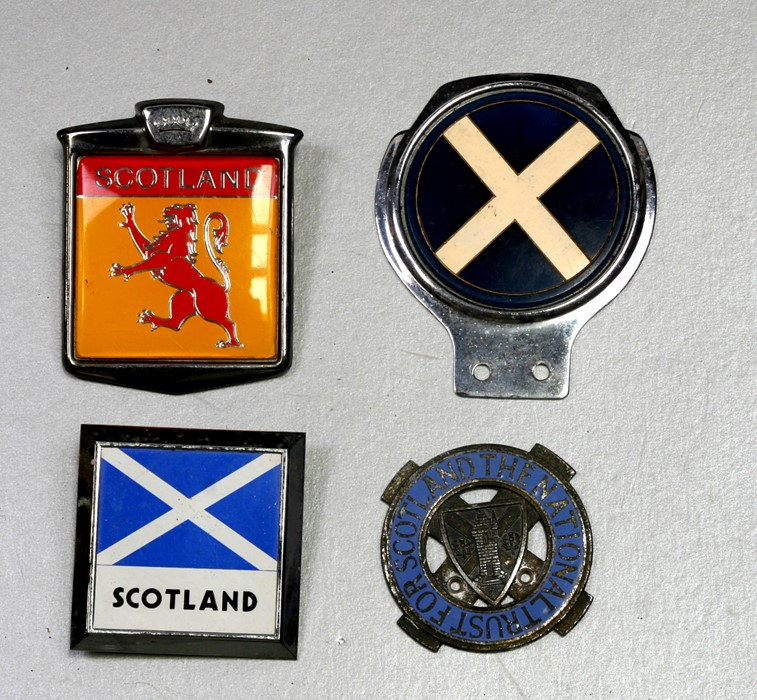 Badge bar badges relating to Scotland including the National Trust for Scotland.