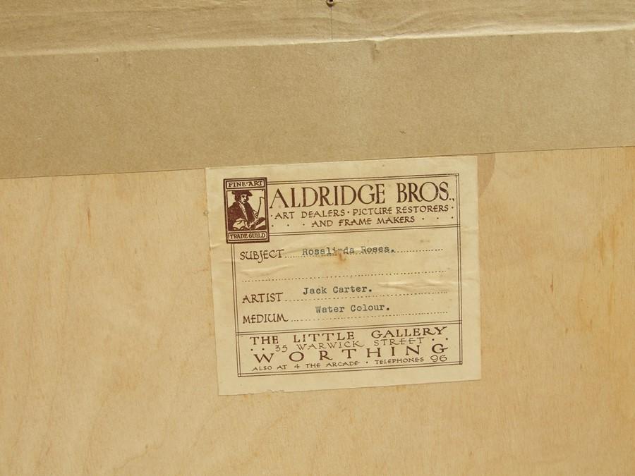 Jack Carter (modern British) - Rosalinda Roses - signed & dated '58 lower right, watercolour, framed - Image 2 of 2