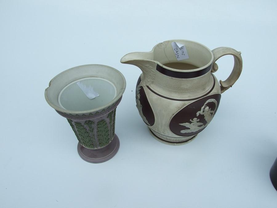 A 19th century stoneware commemorative mug depicting Wellington; together with two Jasperware - Image 5 of 10