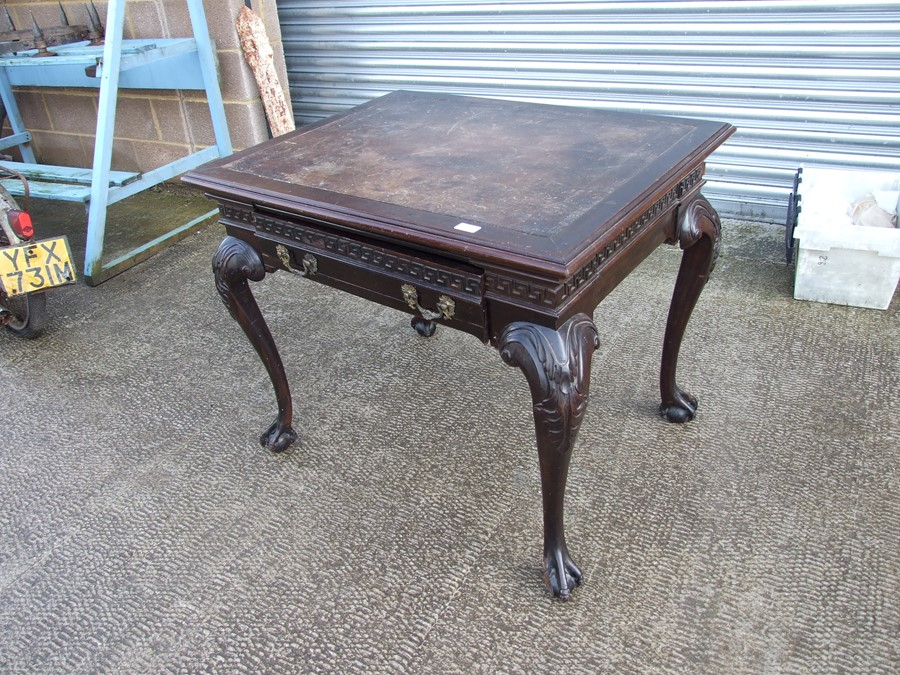 An 18th century (possibly Irish) mahogany writing table, the rectangular top inset with a later - Image 2 of 12